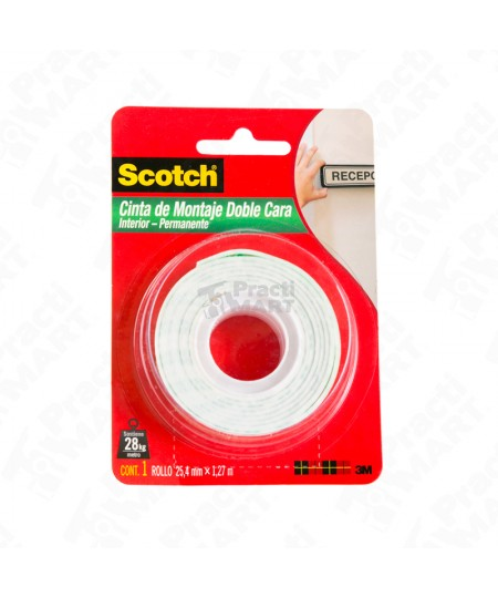 Cinta de Montaje Doble cara 24.5mm x 1.27 Mts Scotch
